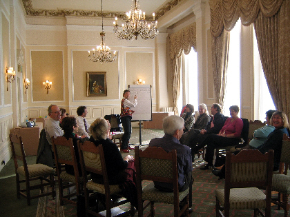 Photo of Gerry Maguire Thompson running a workshop